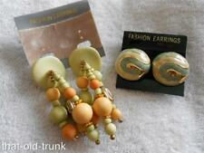 Fashion Clip Earrings New on Cards Dangle Huggie Orange Green Beads 2 Pairs NWOT