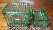 Green Depression glass Butter Dish Jar