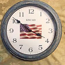 "Kincaid 13"" Patriotic American Flag Wall Clock w/ Distressed Metal Finish Decor"