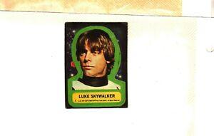 1977 TOPPS STAR WARS SERIES 1 LUKE SKYWALKER STICKER # 1 STICKER FAIR TO GOOD