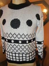 VINTAGE 21.3ms Bel Ami mujer blanco y Negro Jersey Círculos triángulos Cuadros M