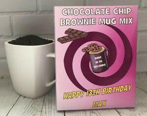 Personalised Chocolate Chip Brownie Mug Mix~Birthday gift present~18,21,30,40,50