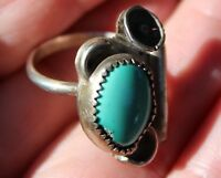 Old Pawn Navajo Sterling Silver & Turquoise Stone Squash Blossom Ring
