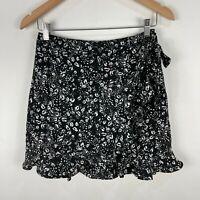 Tokito Womens Skirt 8 Black Floral Mini Zip Closure