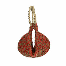 Red Brocade Pearl Acrylic Beads Potli Party Bag Wallets for Women Ladies