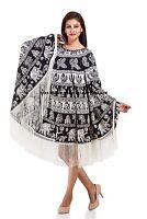 Women's Beach Wear Batwing Top Loose Kaftan Poncho Tops Dress With Tassel Lace