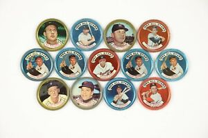 "Lot of 31 1964 Topps Color Photo Tin Coins 1.5""  Ft. Mantle Kaline Spahn & More"