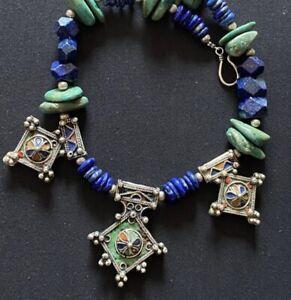 Turquoise & Lapis Lazuli Berber Boghdad enameled Tribal cross Moroccan necklace.