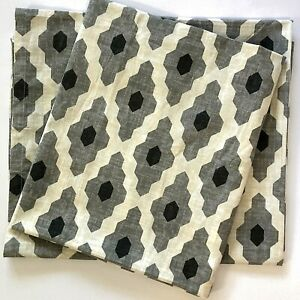 NEW 2 West Elm Curtain Panels 48x84 Ikat Cotton Gray Triangles Lattice