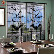 Halloween Bats Spider Web Curtains Cobweb Black Lace Festival Window Door Decor
