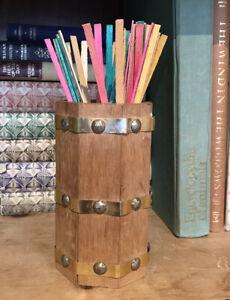"""Vintage 50' Fireside Lighting Wooden Barrel Spills Holder Vase Cottage Core 5.7"""""""