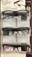 Design Optics Ladies Fashion Full Frame 3 Reading Glasses Cases UV +1.50 *OPEN