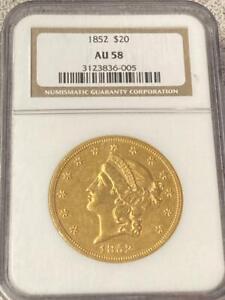 1852 Liberty Head $20 Gold Double Eagle NGC AU 58