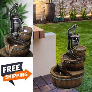 New Garden PORTABLE Water Fountain Light Statue Ornament Cascade Patio 3 Styles