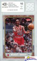 2007 Fleer #24 Michael Jordan+Game Used Jersey BECKETT 10 MINT 1986 Fleer Design