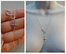 New 925 STERLING SILVER Infinity Cross Lariat pendant Necklace 18L