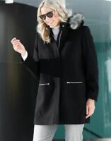 Damen Kurzmantel Wolljacke Jacke Kapuze schwarz - NEU & OVP große Größen Fell 48