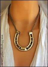 HORSESHOE PENDANT METAL NECKLACE & EARRING SET - Cowgirl Burnished Silver