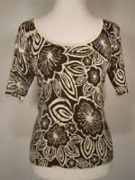 Beautiful Women's PS Petite Small Talbots Floral Design Silk Blend Knit Blouse