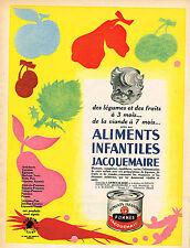PUBLICITE ADVERTISING 015  1957  JACQUEMAIRE  BLEDINE aliments bébé Dès 7 mois