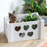 White Wooden Heart Home Storage Box Apple Crate Basket Office Bathroom Bedroom