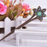 Hair Jewelry Vintage Style Wood with Rhinestone Flower Hair Sticks Hairwear