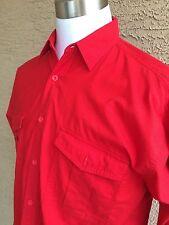 London Fog Mens  Large Red Long Sleeve Button Front Medium Weight Shirt A3