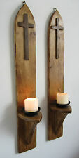 PAIR OF 80CM TALL RECLAIMED PALLET WOOD GOTHIC CHURCH WALL SCONCE CANDLE HOLDERS