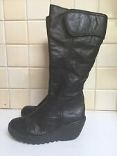 FLY, LONDON BLACK LEATHER WEDGE BOOTS UK SIZE 5, EUR 38