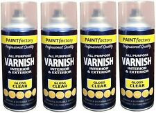 4 x Clear Gloss Varnish Spray Paint Wood Metal Plastic Office Household 400ml