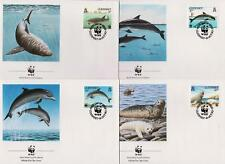 Guernsey 1990 World Wildlife Fund - Marine Life - 4 First Day Covers FDC - (8)