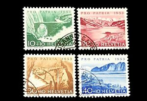 1953 Switzerland USED Semi-Postal Stamps B223 224 225 & 226! Bisse R Lake Geneva