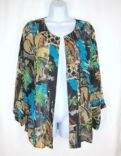 CHICOS Sheer Silk Open Front Jacket sz 2 M L Artsy Tropical Black Multi