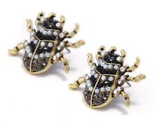 NEW Beetle Insect Crystal Rhinestone & Pearl Embellished  Black Stud Earrings