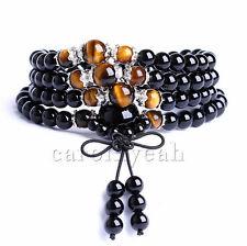 6mm stone tiger-eye Buddhist obsidian 108 Prayer Beads Mala Bracelet Necklace