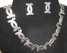 Modernist Necklace & Earring Mexico Vintage Set Victoria Taxco Brilanti Signed
