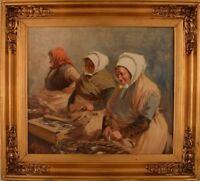 S. C. Bjulf: Fishermen's wives, The old dock, Copenhagen.  Well listed artist