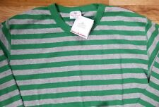 NWT HANNA ANDERSSON GREEN GREY STRIPE LONG JOHN PAJAMA SHIRT MEN XL WOMEN 2XL