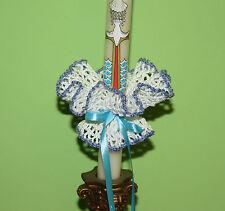 BIANCO-BLU Handmade Crochet Candela Decorazione Battesimo Comunione & Battesimo