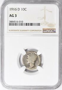 RARE 1916-D MERCURY DIME >NGC AG3< Full Date,Strong D >SUPER FAST SHIPPING!!!