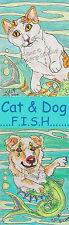 sea Cat kitty clown Dog fish Art Bookmark PRINT Loberg Fantasy ocean animal EBSQ