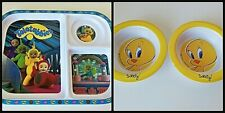 New Rare Teletubbies Kids Food Tray  + 2 Warner Bros Tweety Soup Dishes