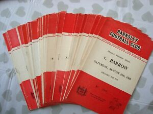 Full season of Barnsley 1968-69 home programmes - 27 programmes in all
