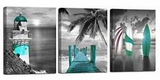 Arjun Canvas Wall Art Teal Ocean Lighthouse Painting Palm Tree Surfboard Picture