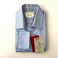 Ted Baker Men's Endurance Dress Shirt Light Blue Dobby Print Pattern Button Down