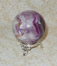 Fluorite Sphere & Silver tone Stand NEW Purple & Clear 57mm 11.0oz Brings Peace