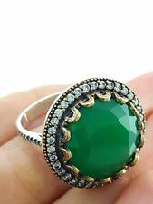 Turkish Ottoman Sterling Silver Jewelry Authentic Emerald Ring Size 9 R3231