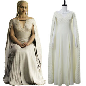 Game of Thrones 5 S5 Daenerys Targaryen Outfit Cosplay Costume White Gown Dress