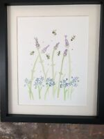 Bumble Bees, Lavender, Forget Me Not Original Watercolour Painting, Original Art
