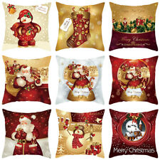 "18"" Christmas Cushion Cover 3D Pillow Case Sofa Throw Xmas Gift Home Decorations"